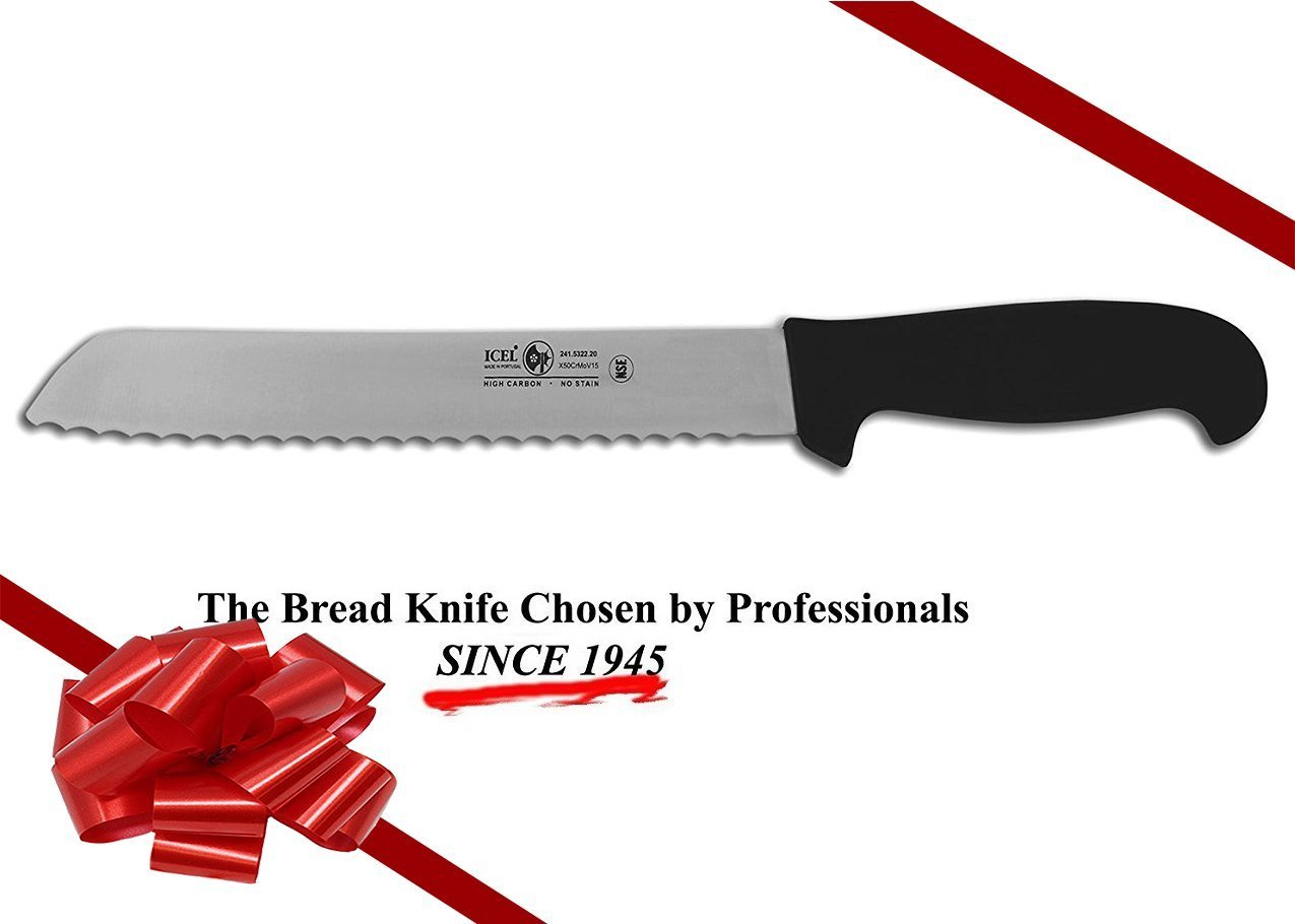 ICEL Cutlery 8-inch wavy edge Bread Slicer knife. NSF Approved, Black Handle