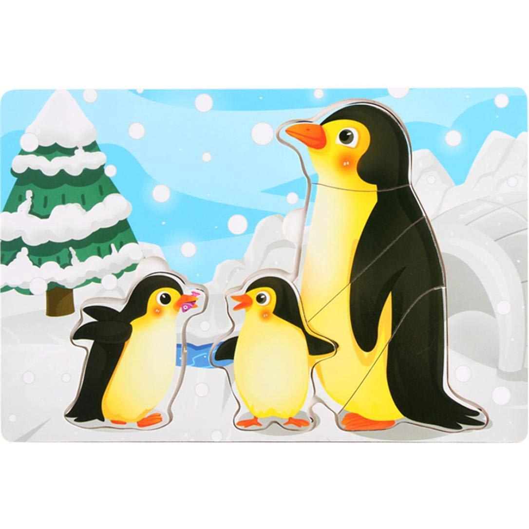 ジグソーパズル おもちゃ Vibola 3D かわいい絵画 漫画 木製 描画ボード 動物 パズル 子供 教育玩具 Size: 14.7 * 14.7 * 0.5CM Vibola25 B07GBPM274 D