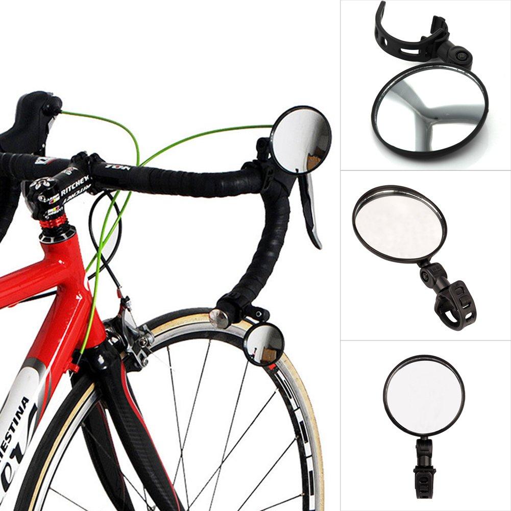 DEHAIW 1 par de Espejos retrovisores para Bicicleta, Manillar de Bicicleta Ajustable, Espejo retrovisor Convexo para Bicicleta de Carretera y Montañ a, Negro Espejo retrovisor Convexo para Bicicleta de Carretera y Montaña