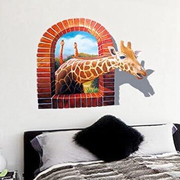Frimateland Abnehmbarer 3D Afrikanischen Giraffe Kindergarten Badezimmer  Küche Schlafzimmer Esszimmer Wohnzimmer Spiegel Büro Schlafsaal Startseite  Des