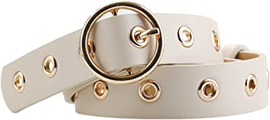 sourcingmap Womens Leather Belt for Jeans Dress Pants Studded Grommet with Circle Metal Buckle