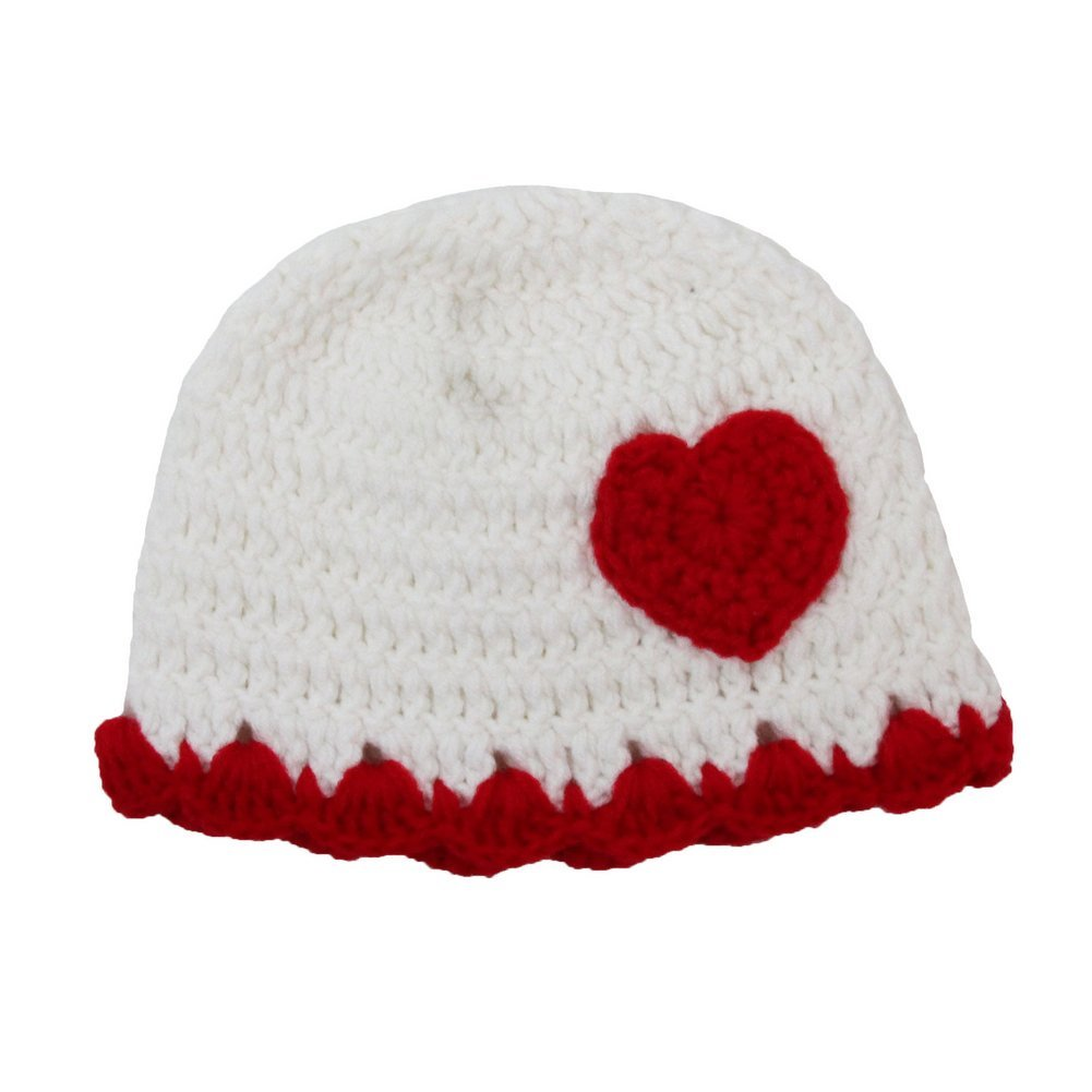 Little Girls White Crochet Red Heart Beanie Hat 2-4 Years