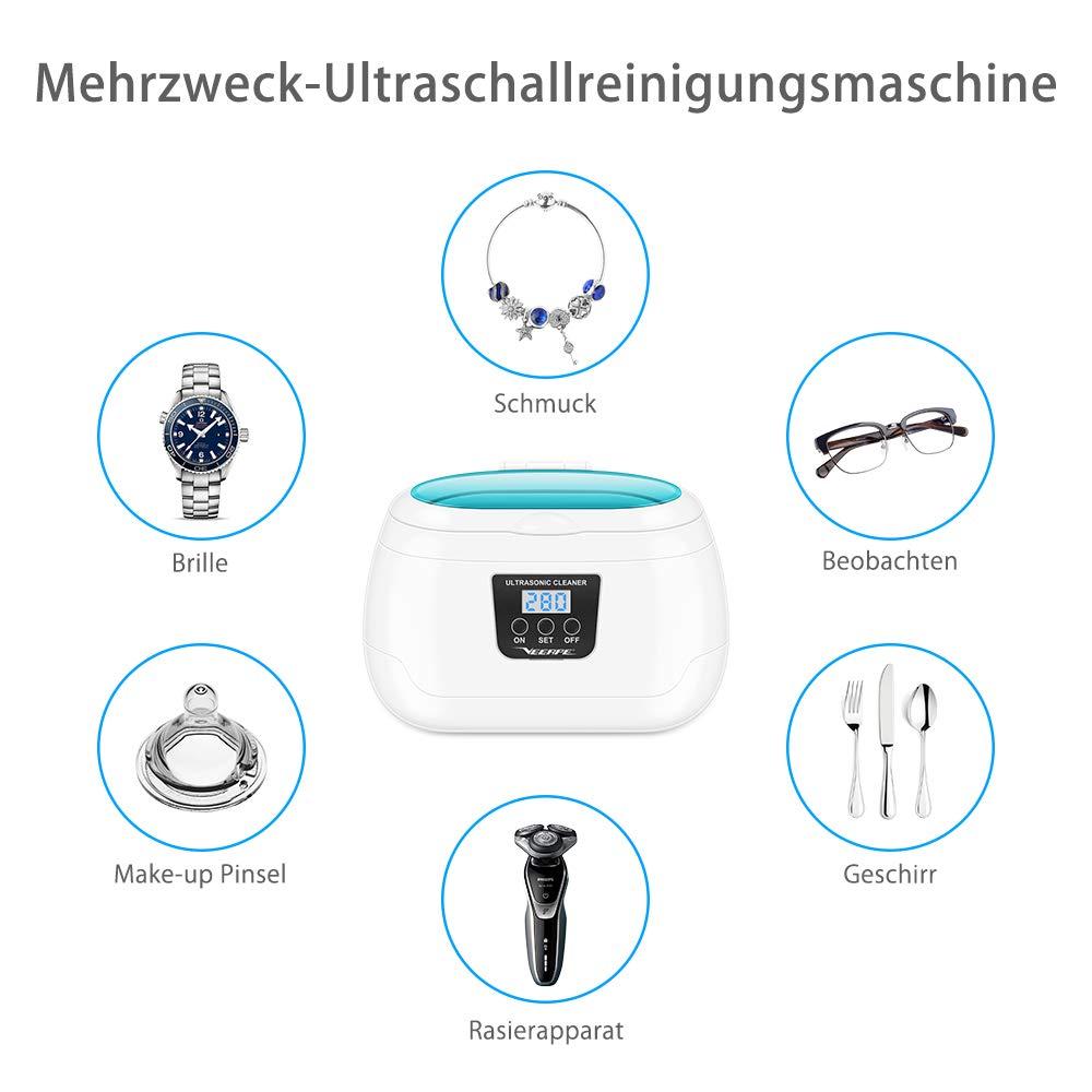 600 ml, con soporte para relojes y cesta de limpieza, ba/ño ultras/ónico de 5 etapas, temporizador 43000 Hz para gafas VEEAPE Limpiador por ultrasonidos joyas relojes pr/ótesis dentales