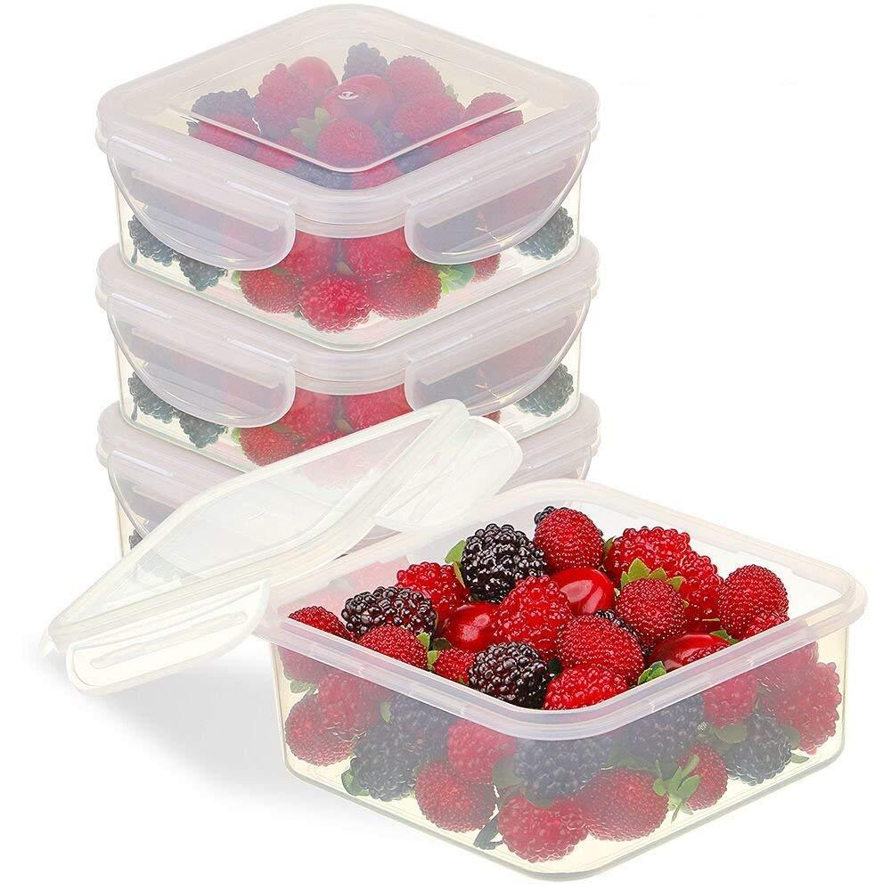 Bo/îtes Alimentaires Plastique 3-Compartiments Herm/étiques Bo/îtes de Conservation au Cong/élateur et lave-vaisselle /Étanches R/écipients Alimentaires avec Couvercle Sans BPA Adapt/ées au Micro-ondes