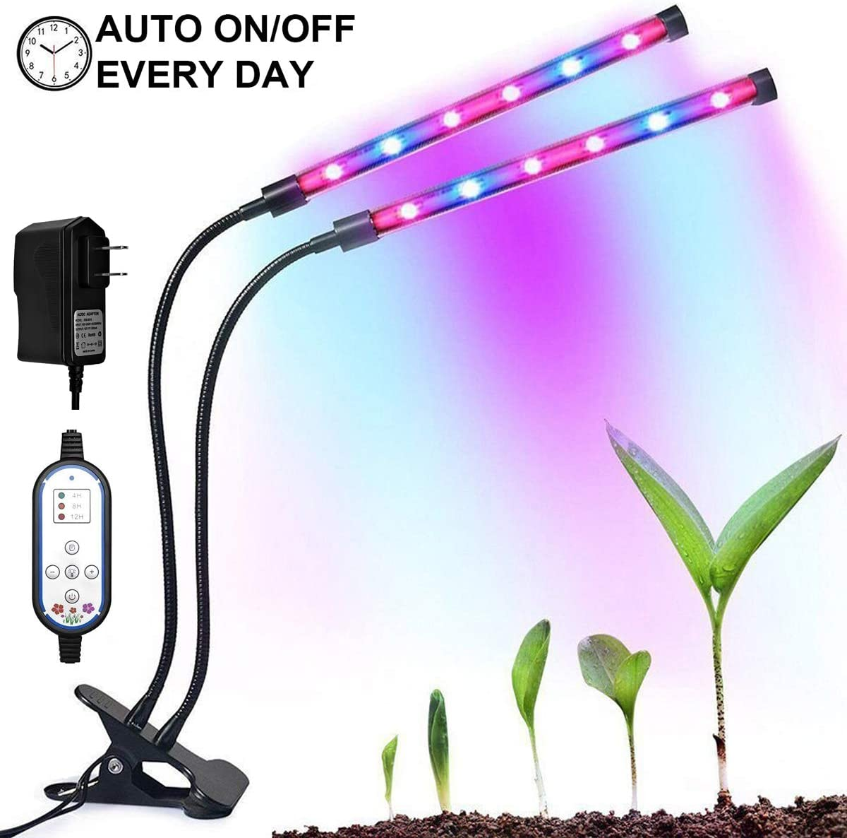 Dual-lamp Grow Light, Auto On Off 4H 8H 12H Cycle Timing Plant Lights 8 Levels with Adjustable 360 Degree Flexible Gooseneck for Indoor Plants Potted Tent Hydroponics Gardening Seedlings Growing