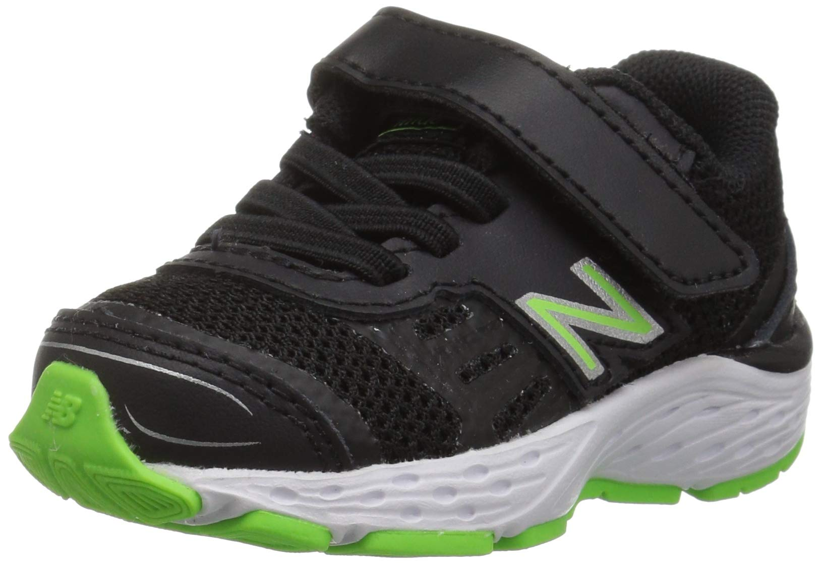 New Balance Boys' 680v5 Hook and Loop Running Shoe Black/RBG Green 2 M US Infant by New Balance (Image #1)