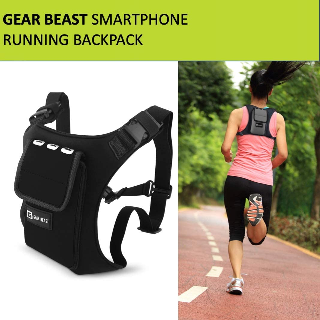 Gear Beast Running Backpack Vest Cell Phone and Accessories Holder Lightweight Pack Key Card ID Holder for Running Walking Cycling Fits iPhone 11 X XS Max 8 7 Plus Galaxy S9 S8 Plus Note 10 9 8: Electronics