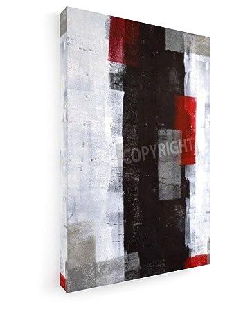 Charmant Graue Und Rote Abstrakte Kunst Malerei   2 40x60 Cm   Premium Leinwandbild  Auf Keilrahmen