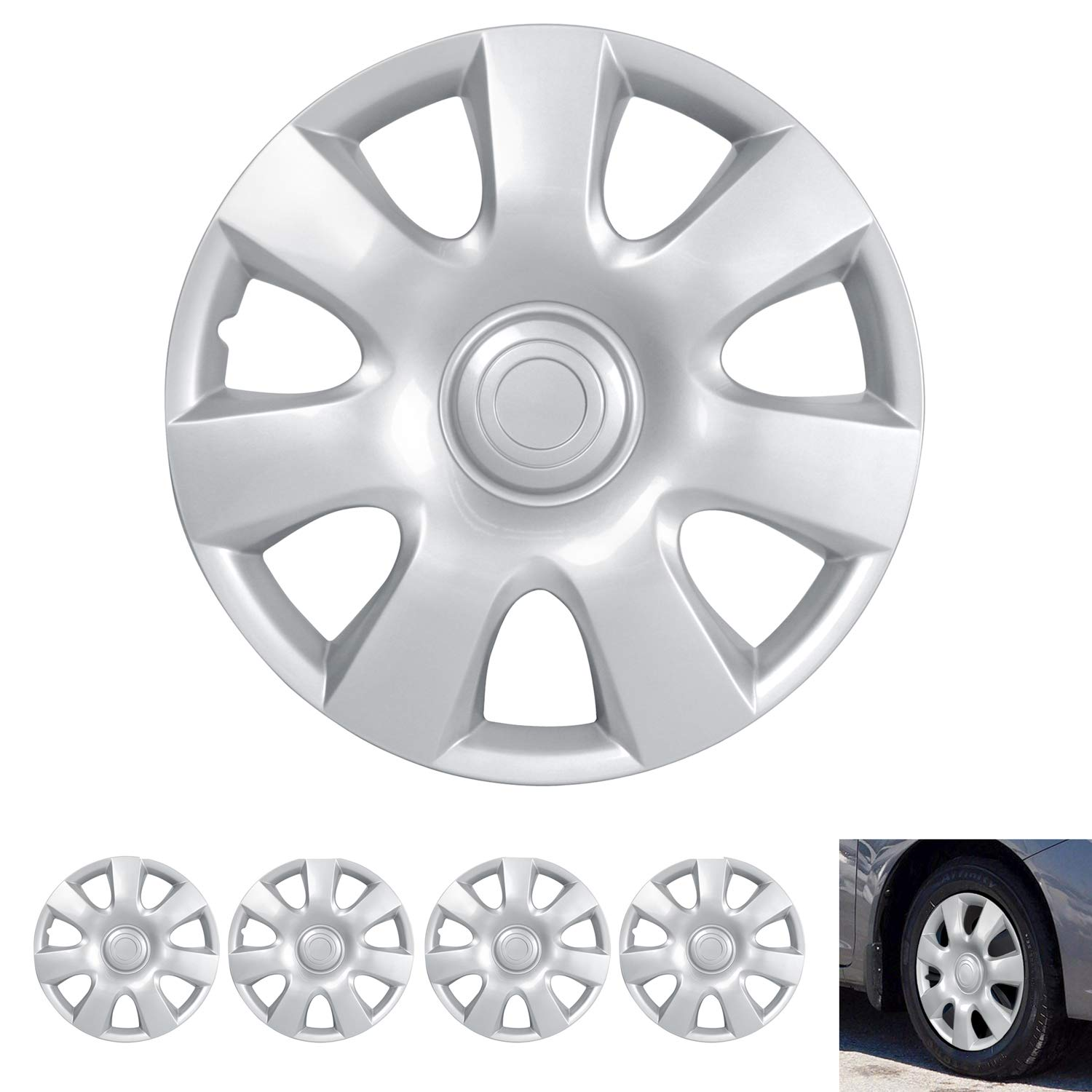 """4 Pack Hubcaps for Car Accessories Wheel Covers Snap Clip-On Auto Tire Rim Replacement for 15 inch Wheels 15/"""" Hub Caps Triangular Spokes BDK Wheel Guards"""