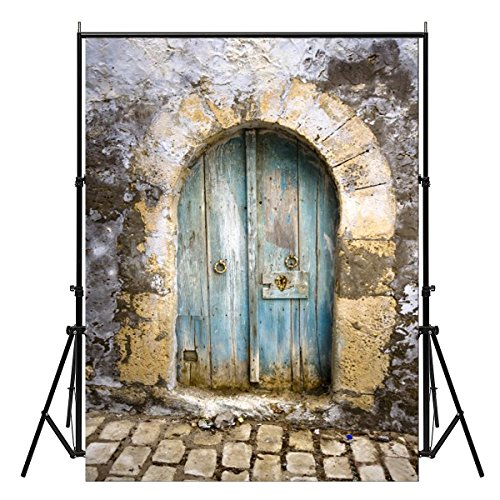 FOCUSSEXY 5X7ft Photography Backdrops Vinyl Photography Background Old Vintage Arched Door Wall Stone Floor Studio Props Personal Photo Wall Decor Newborns Baby Kids]()