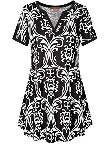(Gaharu Tunics for Women, Ladies Vintage Short Sleeve V Neck Flowy Tunic Shirt Printed Long Tunics Fitted Blouse Tops Black,Medium)