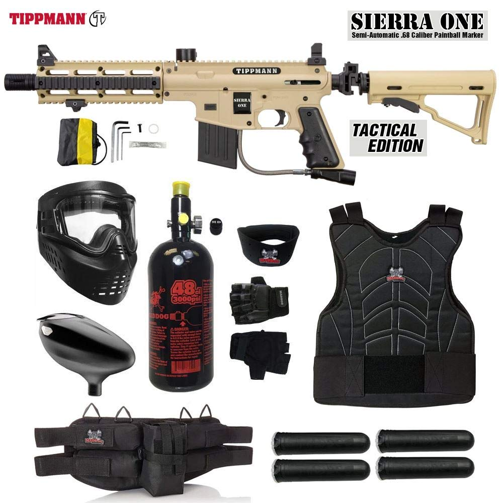 MAddog Tippmann Sierra One Starter Protective HPA Paintball Gun Package - Tan by MAddog