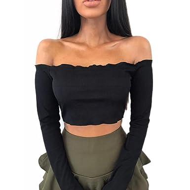 efc295270927f Wolfleague T-Shirt Femme Sexy Épaule Crop Tops Chemisier Femmes Manche  Longue Bralet à Volants Boobtube Pull Tops Blouses Court Noir S ~ XL   Amazon.fr  ...