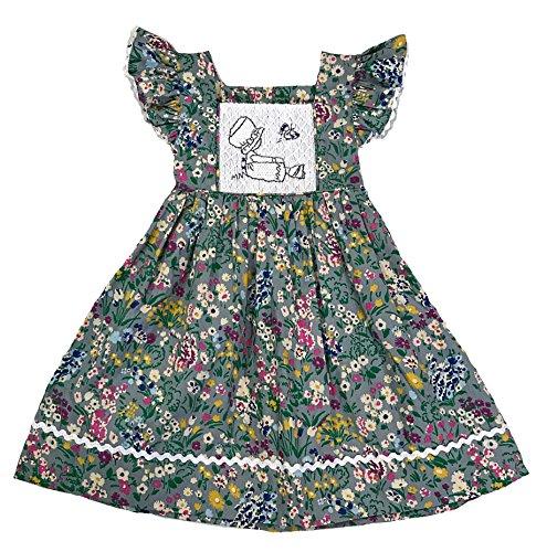 Sassy Smock Smocked Gray Floral Girls Dress (6) Holly Hobbie Clothes