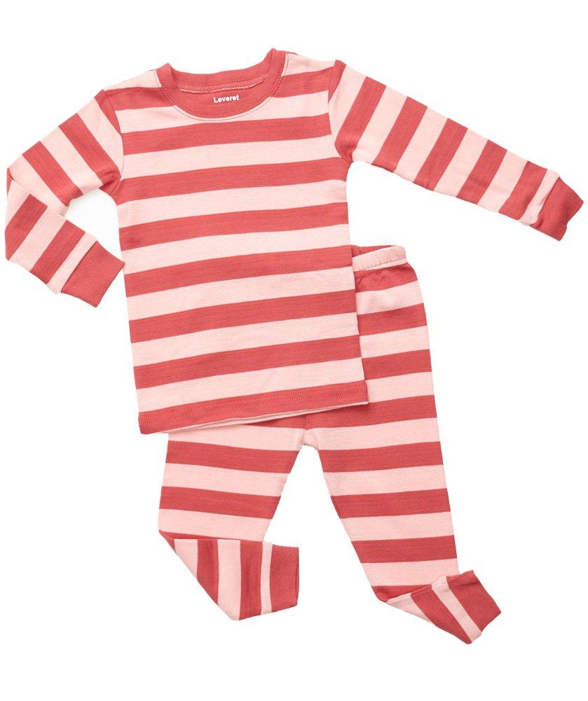 """Leveret """"Little Girl"""" Striped 2 Piece Pajama Set 100% Cotton (Size 6M-5T) (5 .. 2"""