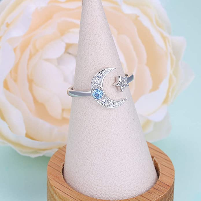 Fashion Silver CZ Moon and Star Rings Women Jewelry Open Adjustable Wedding C1W0