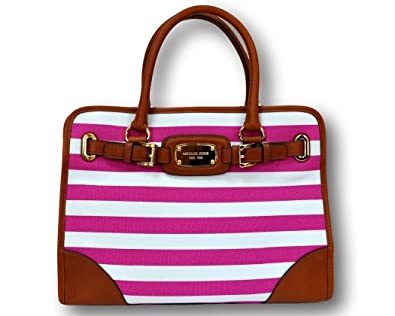 8199ea08ccdc Michael Kors MK Hamilton Large EW Tote Shoulder Handbag Fushia White  Stripes: Handbags: Amazon.com