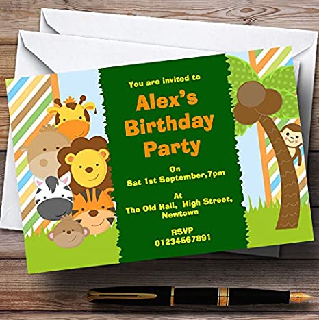336d7e64b2303 Amazon.com   Cute Little Jungle Animals Theme Personalized Birthday Party  Invitations   Office Products