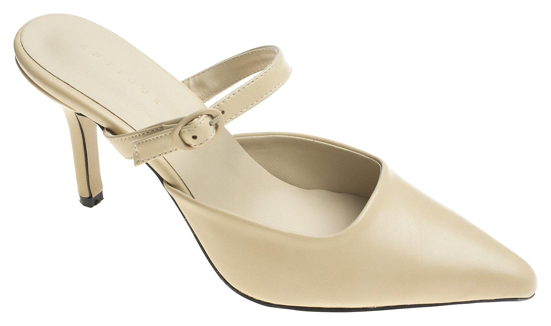 AnnaKastle Womens Pointy Toe Mary Jane Heel Mule B079D768RV 6.5 B(M) US|Beige