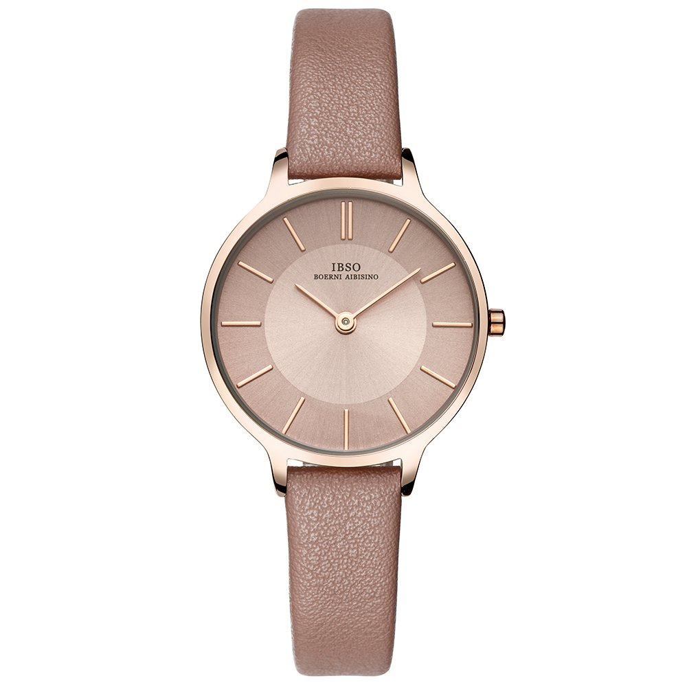 IBSO Female Watches Leather Strap Round Case Fashion Women Watch for Sale (6608-Brown)