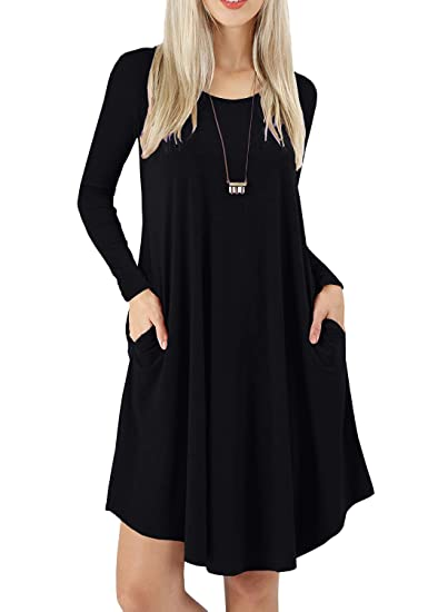 e260e8ce7c PrinStory Women s Round Neck Long Sleeve Casual Loose Dress Plain Swing Black  Dresses with Pockets Black