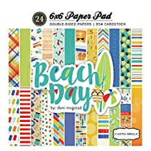 """Echo Park Paper 536761 Carta Bella Double, Sided Paper Pad 6""""X6"""" 24/ Package, Beach Day, 12 Designs/2 Each"""