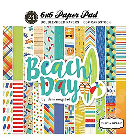 Echo Park Paper CBBD54015 12 Designs/2 Each Carta Bella Beach Day Double-Sided Paper Pad, 6 x 6-Inch, 24 Sheets
