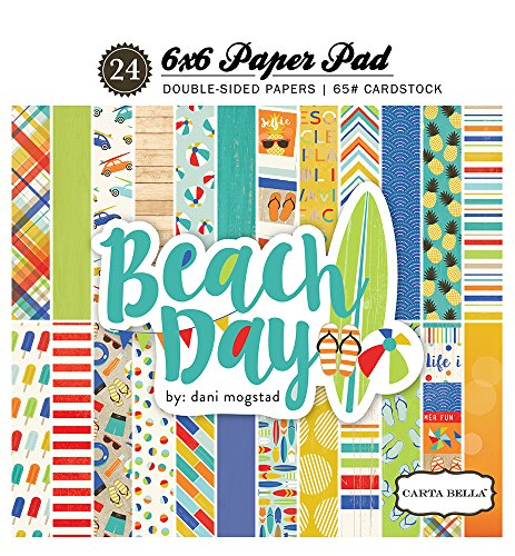 Echo Park Paper CBBD54015 12 Designs/2 Each Carta Bella Beach Day Double-Sided Paper Pad, 6 x 6-Inch, 24 Sheets (Days Double Sided Paper)