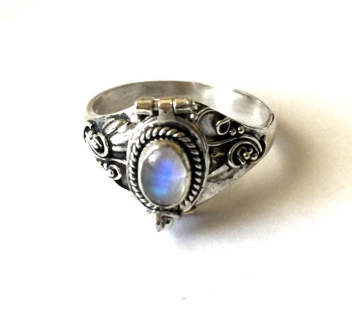 Poison Ring Bali Sterling Silver Locket Ring rainbow Moonstone AR04