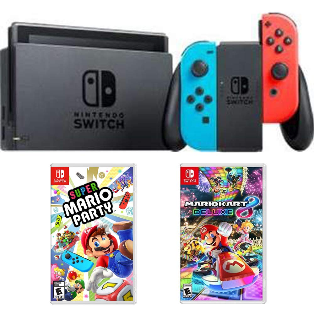 Nintendo Switch 32 GB Console with Neon Blue and Red Joy-Con (HACSKABAA) with Super Mario Party for Switch & Mario Kart 8 Deluxe for Switch
