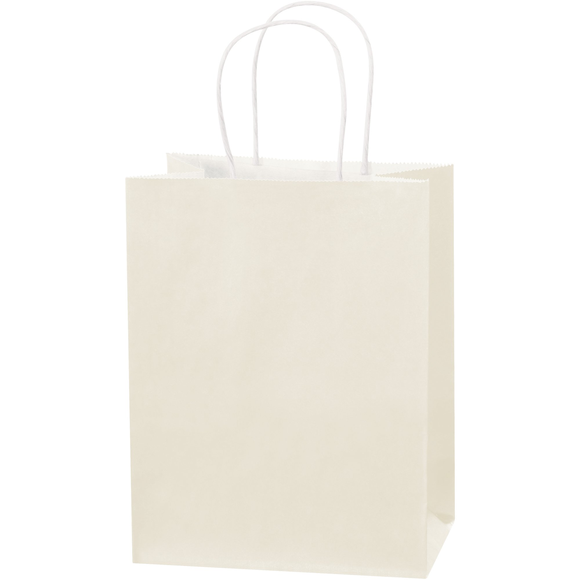 Tinted Paper Shopping Bags, 8'' x 4 1/2'' x 10 1/4'', French Vanilla, 250/Case