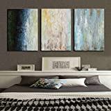 ARTLAND Hand-painted 24x48-inch 'Indifferent Smile'3-piece Gallery-wrapped Abstract Oil Painting on Canvas Wall Art Set