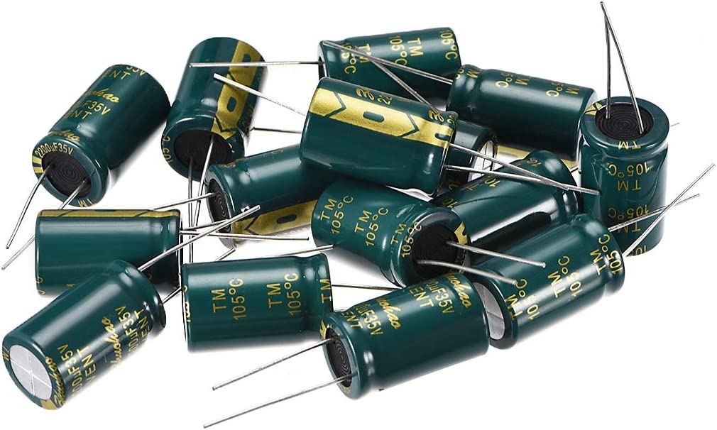 uxcell Aluminum Radial Electrolytic Capacitor Low ESR 100uF 35V 105 Celsius 3000H Life 6.3x7mm High Ripple Current Low Impedance 100pcs Green