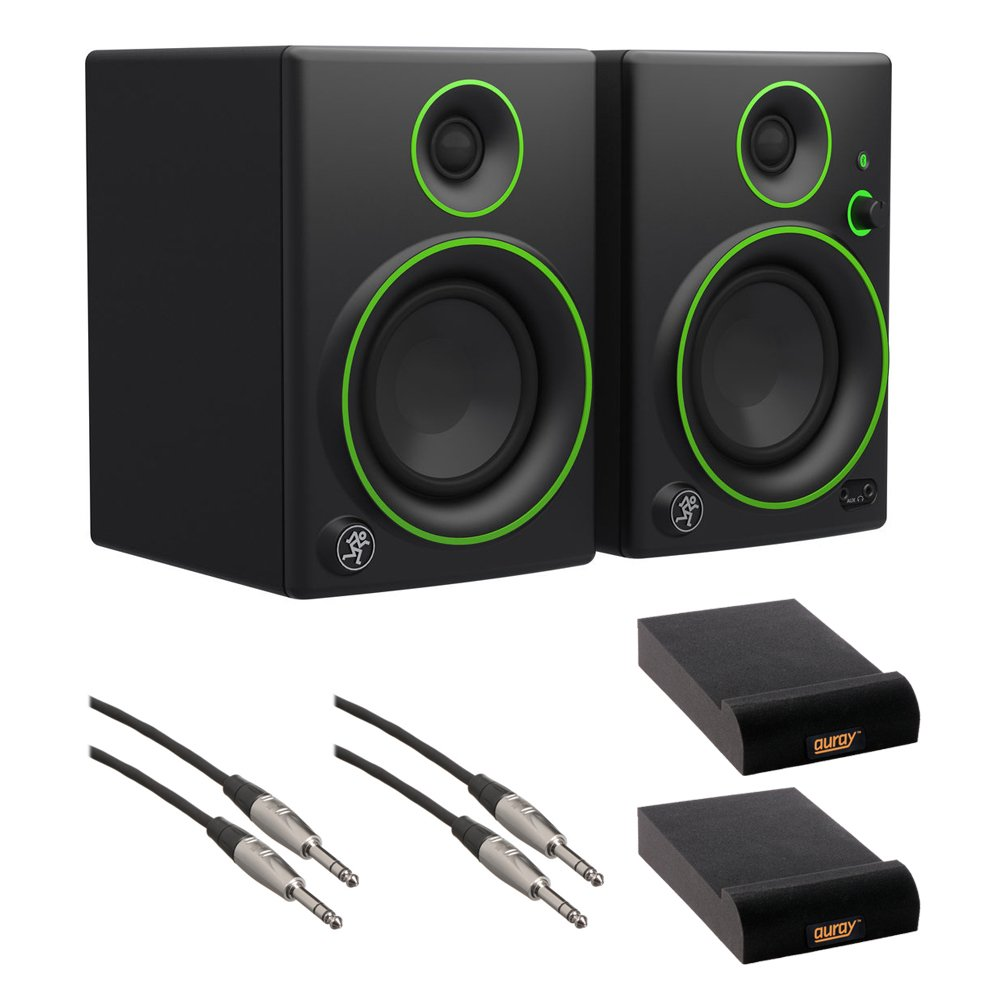 Mackie CR4BT 4'' Multimedia Monitors with Bluetooth (Pair), IP-S Isolation Pad (Pair) & 1/4'' TRS Male to 1/4'' TRS Male Audio Cable (2- Pieces) Kit