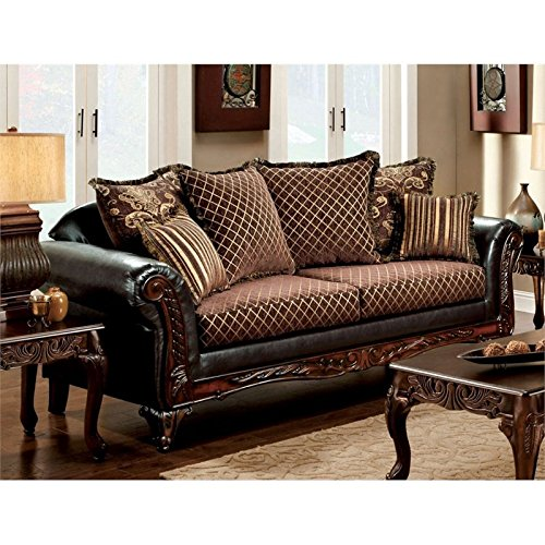 Furniture of America Glenys Sofa in Espresso