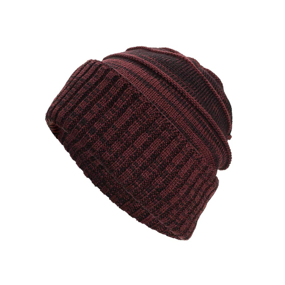 iYBUIA Women Men Warm Baggy Weave Crochet Winter Wool Solid Knit Ski Beanie Skull Caps Hat(Black, One Size) at Amazon Womens Clothing store: