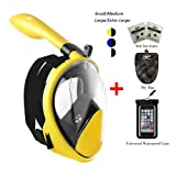 180° Snorkel Mask View for Adults and Youth. Full Face Free Breathing Design.[Free Bonuses] Cell Phone Universal Waterproof Case (Dry Bag) and Anti-Fog Wipes (BUMBOEBEE, Large/Extra Large)
