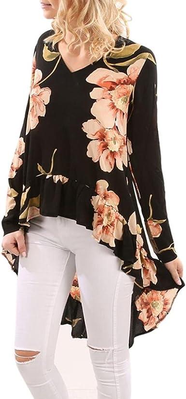 DEELIN Camisa De Manga Larga con Estampado Floral Mujer Camisa ...