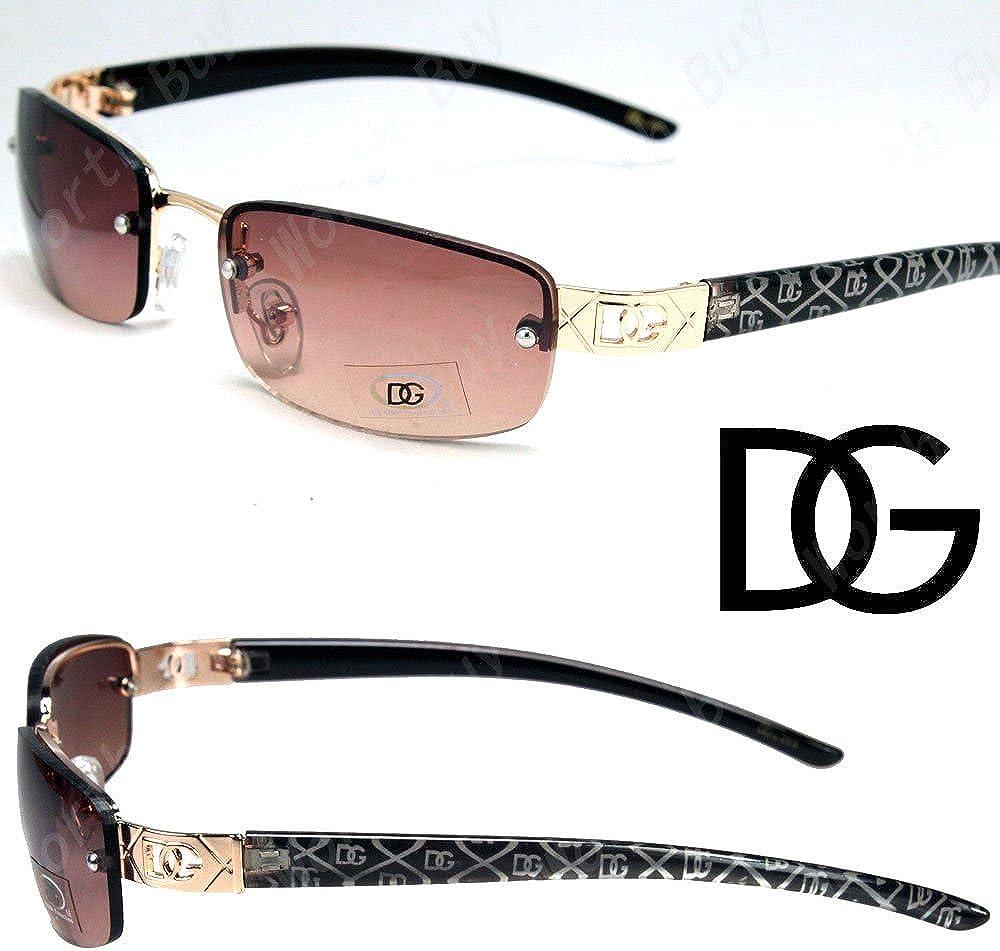 New DG Eyewear Fashion Designer Women Sunglasses Shades Chain Gold Brown Wrap UV