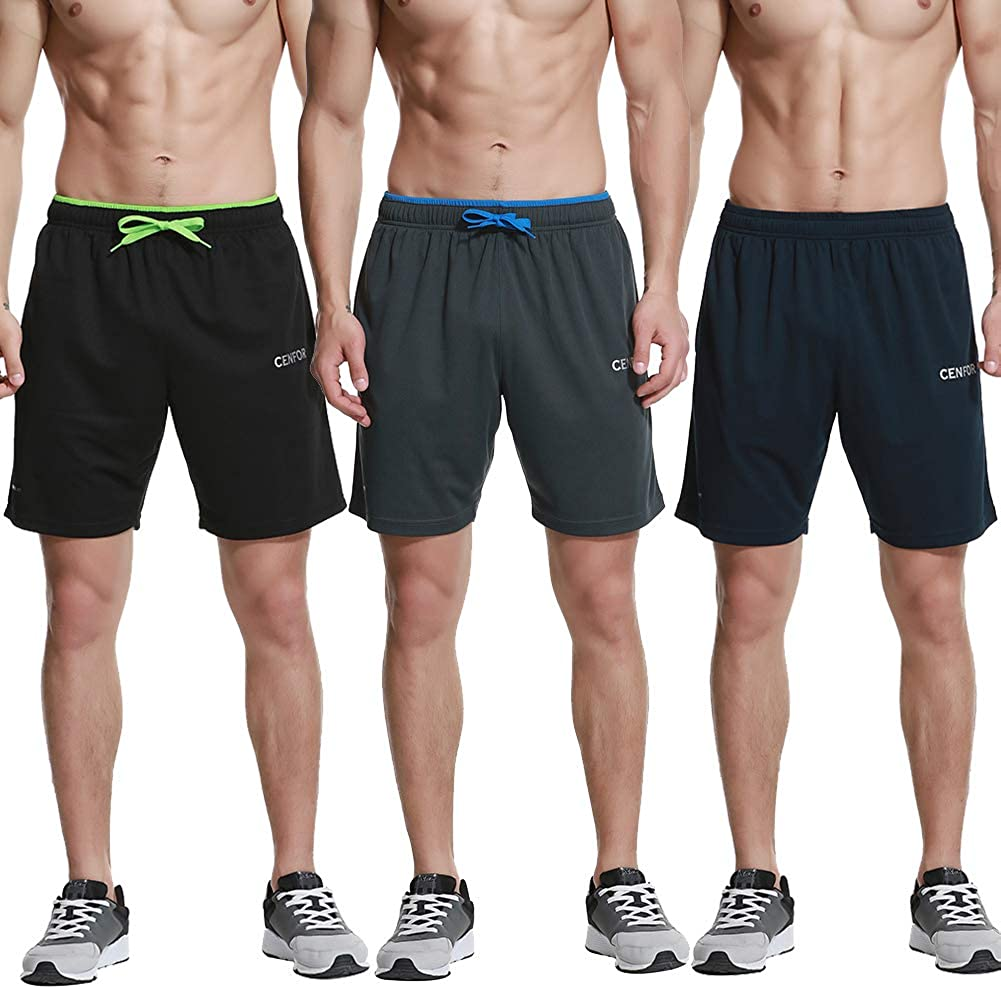 """CENFOR Men's 7"""" Athletic Workout Shorts with Pockets Drawstring Quick Dry Breathable Active Training Shorts: Clothing"""