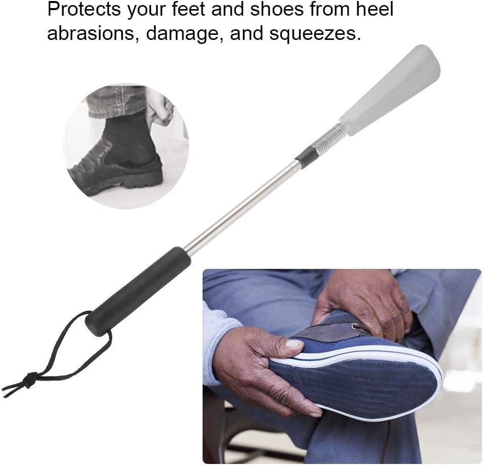 Duevin Portable Retractable Stainless Steel Shoe Horn Shoehorn for Shoes High Heels Max Length 30.9inch Min Length16.2inch