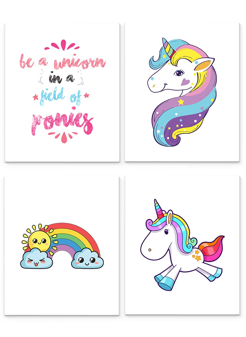 Unicorn Decorations for Girls Bedroom, Set of Four 8 x10 inch Unframed Art Prints - Great for Girls Room or Nursery Wall Decor