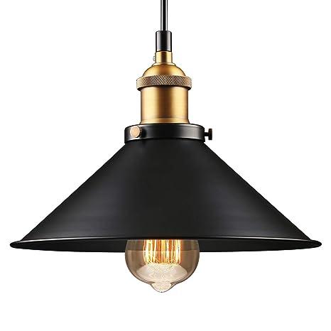 huge selection of 00d45 127af LEONLITE Industrial Hanging Pendant Light, Rustic Farmhouse Style, Matte  Black Metal Shade, Retro Vintage Hanging Light, for Dining Room, Bars, ...