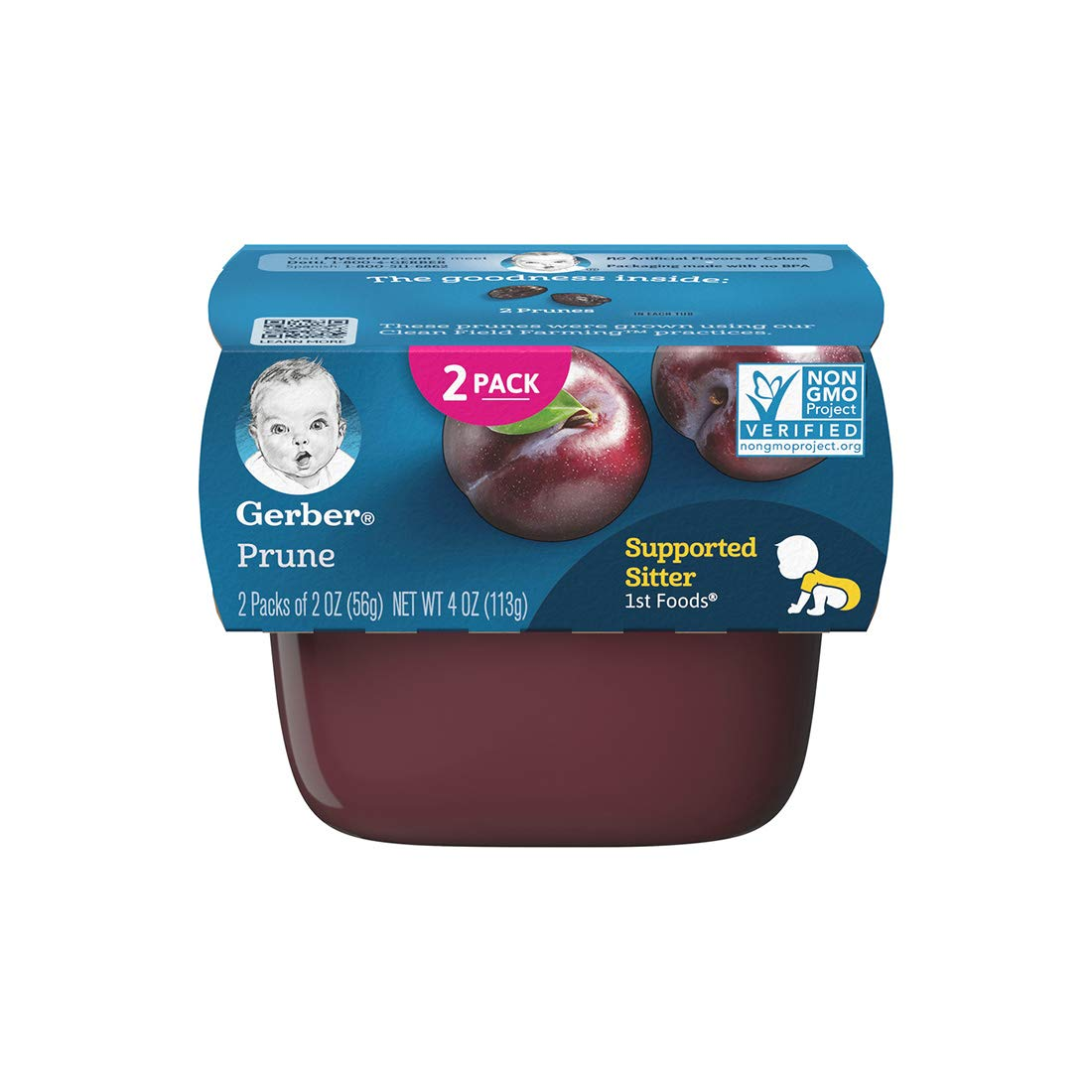Gerber Purees 1st Foods, Prunue, 4 oz (pack of 2)