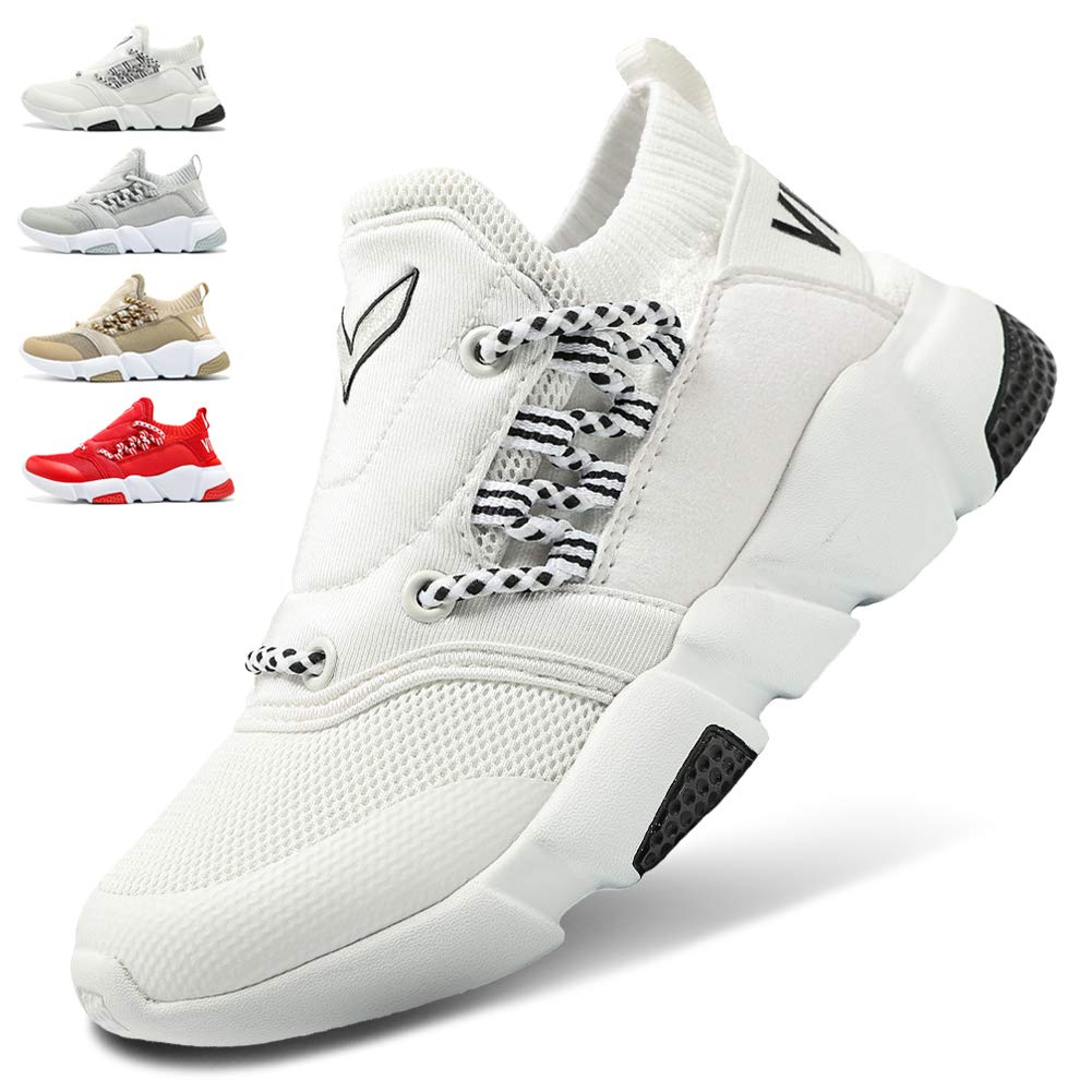 WETIKE Kids Shoes Boys Girls Sneakers Lightweight Sports Shoes Slip On Running Walking School Casual Trainer Shoes Soft Knit Mesh Shoes Tennis Wrestling Shoes White Size 1