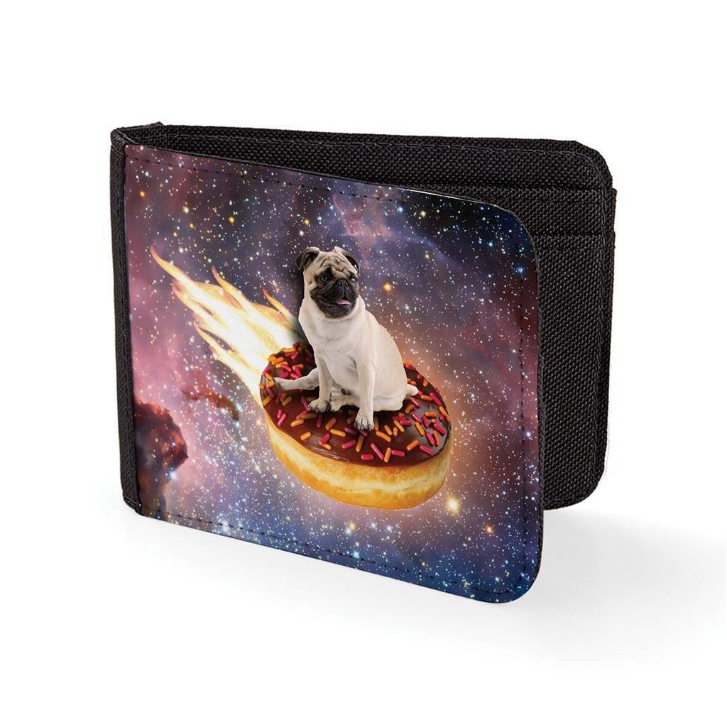 Mens Wallets Billfold Card Holder Pug Doughnut In Space Novelty Wallet