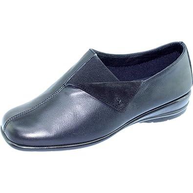 f5aa16a9395f83 Canada Mocassin Compensé Souple pour Femme Chaussure Confortable Pieds  Sensibles Marque Aéro Confort Cuir Noir -