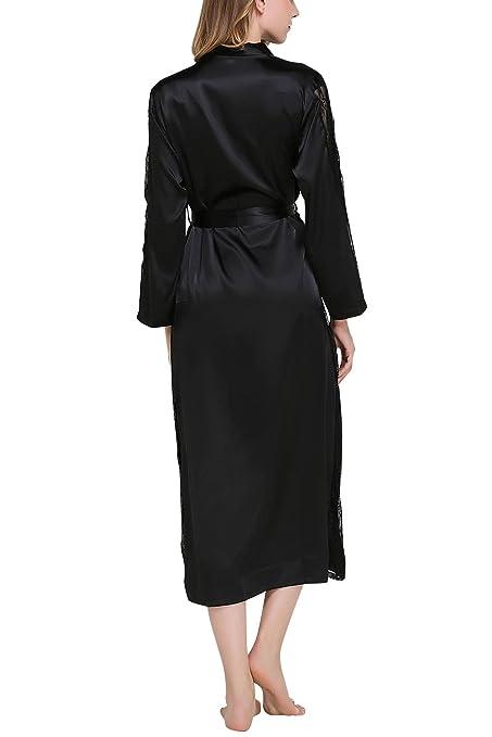 Dolamen Mujer Vestido Kimono Satén Largo, Cordón Camisón para mujer, Lujoso Robe Albornoz Dama de honor Ropa de dormir Pijama, Busto 108 cm, ...