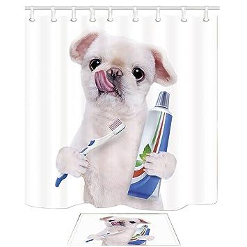 nymb Animal cortina de ducha, gracioso perro cepillado dientes personificación, 69 x 70in resistente