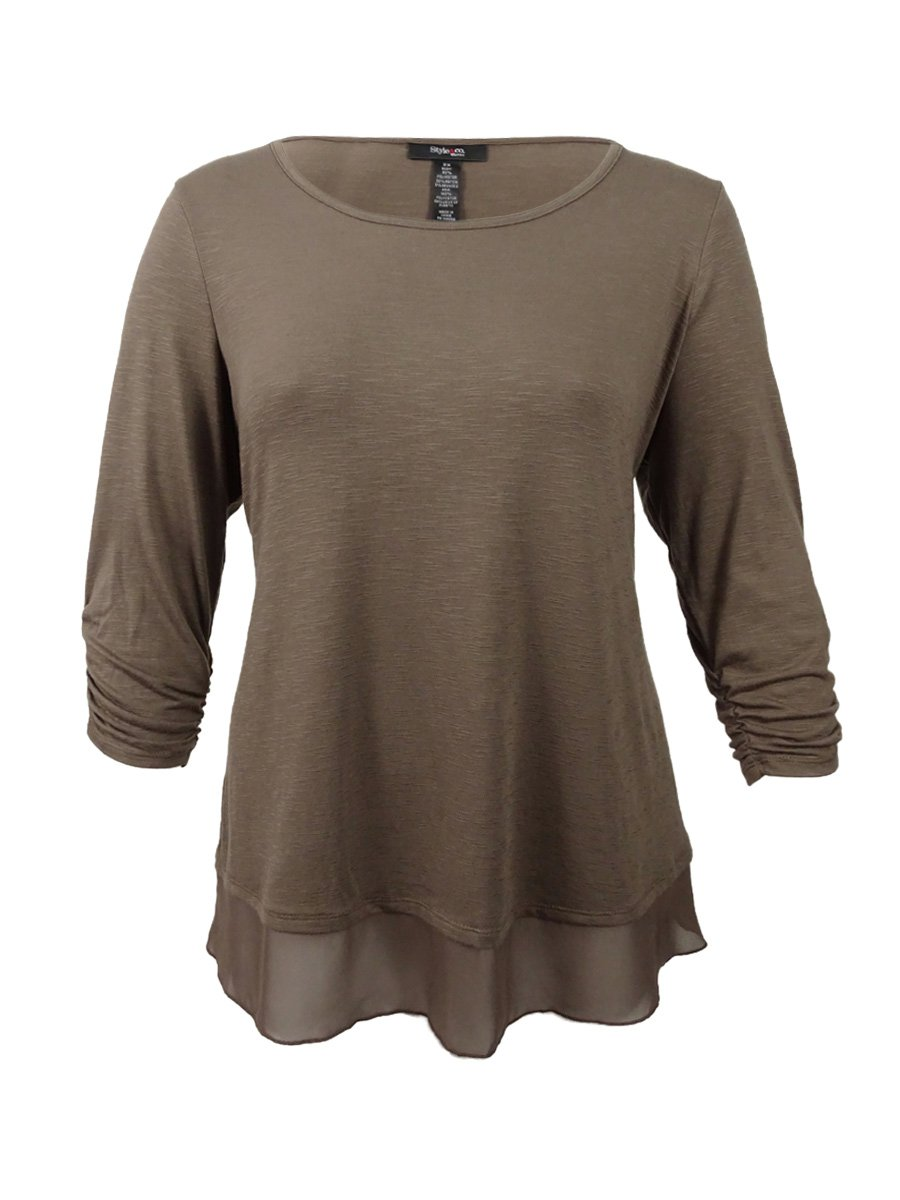 Style & Co. Womens Heathered Mixed Media Pullover Top Brown M